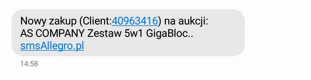 sms z nową transakcją
